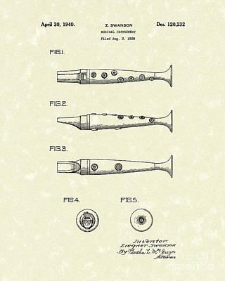Musical Instrument 1940 Patent Art Art Print by Prior Art Design