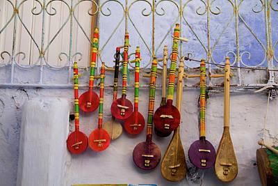 Chefchaouen Photograph - Musical Instrument, Souvenir Shops by Emily Wilson