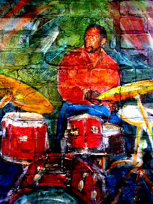 Digital Art - Musician Drummer And Brick by Anita Burgermeister