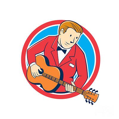 Guitar Player Digital Art - Musician Guitarist Playing Guitar Circle Cartoon by Aloysius Patrimonio