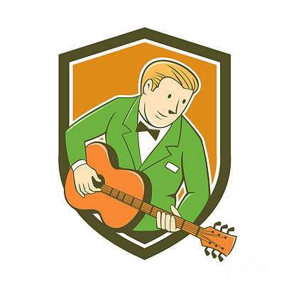 Guitar Player Digital Art - Musician Guitarist Playing Guitar Shield Cartoon by Aloysius Patrimonio