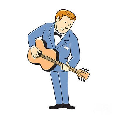 Guitar Player Digital Art - Musician Guitarist Standing Guitar Cartoon by Aloysius Patrimonio