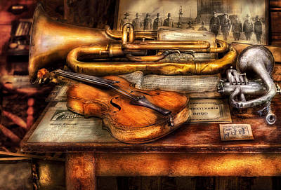 Vintage Photograph - Musician - Horn - Two Horns And A Violin by Mike Savad