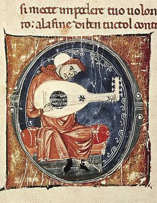 Musician Playin Lute. Miniature Art Print by Everett