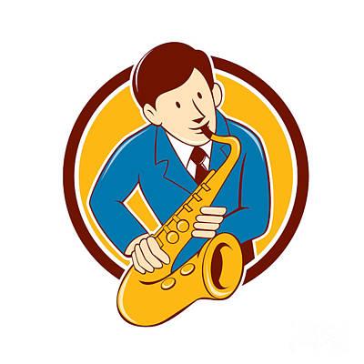 Playing Saxophone Digital Art - Musician Playing Saxophone Circle Cartoon by Aloysius Patrimonio