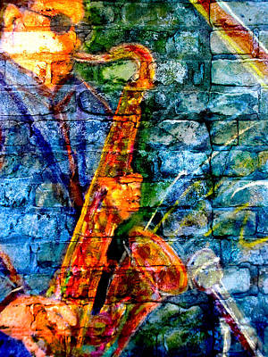 Digital Art - Musician Sax And Brick by Anita Burgermeister