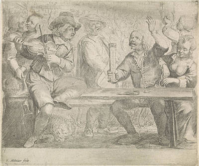 Violin Player Drawing - Musicians And Drink In A Tavern, Jan Miense Molenaer by Jan Miense Molenaer
