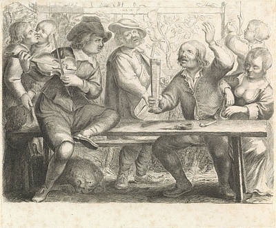 Violin Player Drawing - Musicians And Drinking In A Tavern, Print Maker William by William Young Ottley And Jan Miense Molenaer
