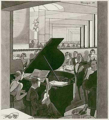 Muriel Digital Art - Musicians Entertain Patrons by Pierre Mourgue