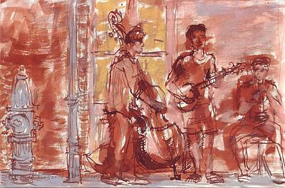 Drawing - Musicians On Royal Street New Orleans by Edward Ching