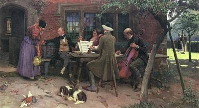 Musicians Royalty Free Images - Musicians outside an Inn Royalty-Free Image by MotionAge Designs