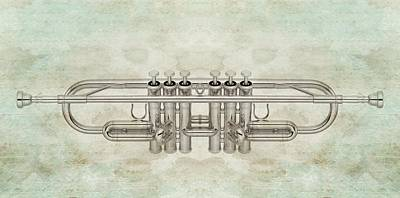 Trumpet Digital Art - Musikalis - D01a by Variance Collections