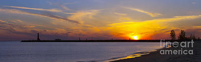 Muskegon Lighthouse Wall Art - Photograph - Muskegon Pier At Sunset by Twenty Two North Photography