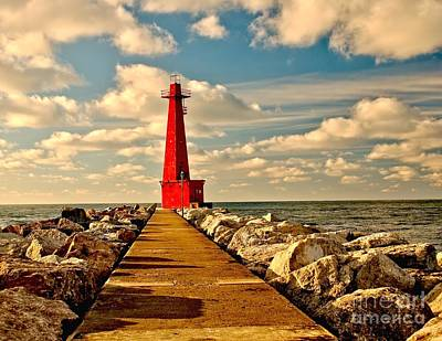 Muskegon Lighthouse Wall Art - Photograph - Muskegon South Pier Light by Nick Zelinsky