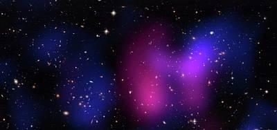 Musketball Galaxy Cluster Art Print by X-ray: Nasa/cxc/caltech/a.newman Et Al/tel Aviv/a.morandi & M.limousin; Optical: Nasa/stsci, Eso/vlt, Sdss