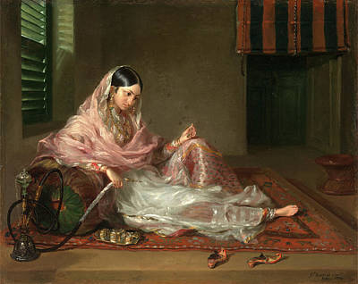 Muslim Lady Reclining An Indian Girl With A Hookah Print by Litz Collection