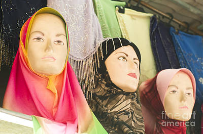 Muslim Woman Mannequin Wearing Headscarf-hijab Or Hijaab Print by Tuimages