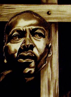 Martin Luther King Drawing - Must I Bear This Cross Alone by Eric Baskerville
