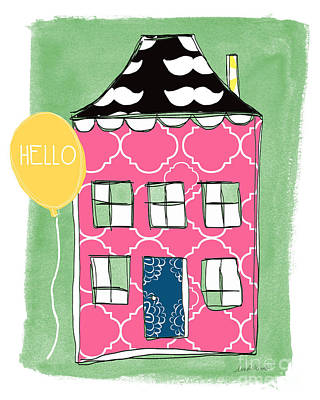 Whimsical Mixed Media - Mustache House by Linda Woods