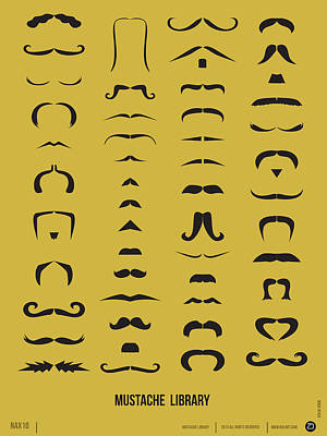 Amusing Digital Art - Mustache Library Poster by Naxart Studio