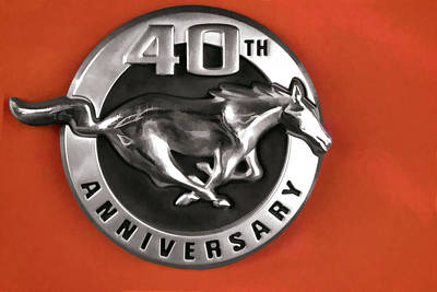 Digital Art - Mustang 40th Anniversary Emblem by Photographic Art by Russel Ray Photos