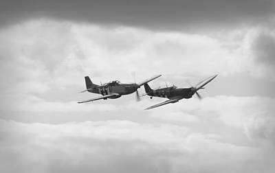 Ferocious Frankie Photograph - Mustang And Spiffier Fighter Planes by Maj Seda