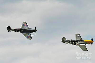 Photograph - Mustang And Spitfire Formation by David Fowler