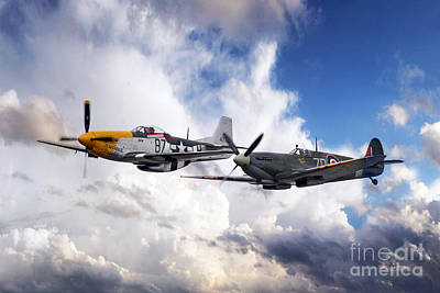 Ferocious Frankie Digital Art - Mustang And Spitfire  by J Biggadike