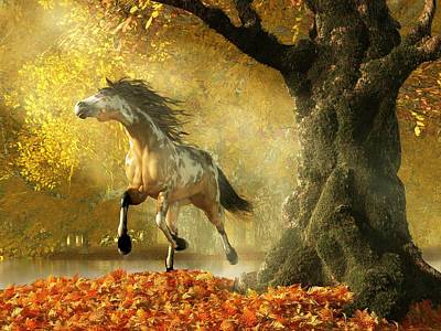Animals Digital Art - Mustang Autumn by Daniel Eskridge