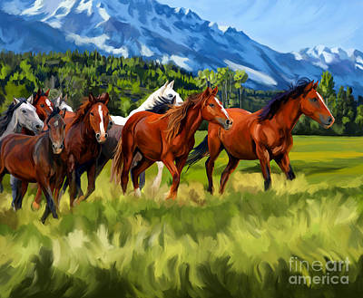 Painting - Mustang In Mountains by Tim Gilliland