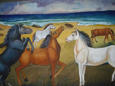 Painting - Mustang Mates by Prasenjit Dhar