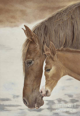 Drawing - Mustang Motherhood by Helen Bailey
