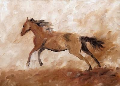 Chestnut Dun Horse Painting - Mustang by Sherri Strikwerda