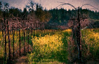 Mustard Flowers With Vines Art Print