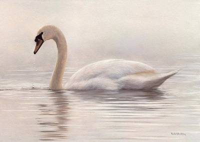 Mute Swan Painting Original by Rachel Stribbling