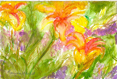 Muti-colored Flowers Art Print by Ramona Wright
