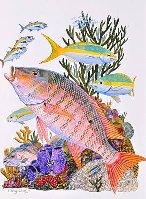 Scuba Painting - Mutton Snapper Reef by Carey Chen