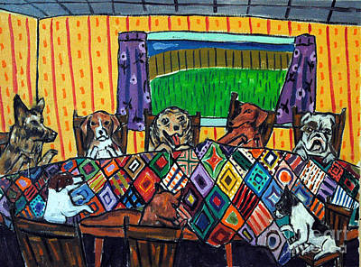Mutts Quilting Art Print by Jay  Schmetz