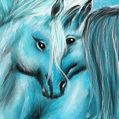 Wild Horse Painting - Mutual Companions- Fine Art Horse Artwork by Lourry Legarde