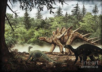 Stegosaurus Digital Art - Mutualistic Relationship by Roman Garcia Mora