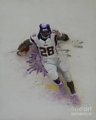 Running Back Mixed Media - Mvpeterson by Jeremy Lindberg