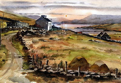 Painting - Mweelrea From Inisbofin Galway by Val Byrne