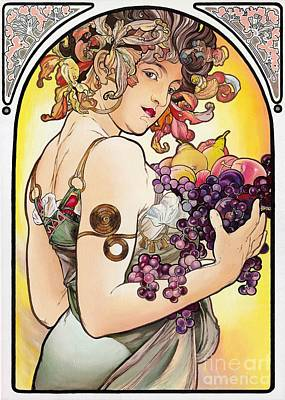 Replica Painting - My Acrylic Painting As An Interpretation Of The Famous Artwork By Alphonse Mucha - Fruit by Elena Yakubovich