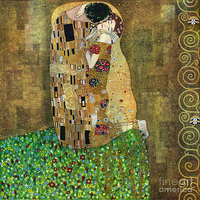 Replica Painting - My Acrylic Painting As An Interpretation Of The Famous Artwork Of Gustav Klimt The Kiss - Yakubovich by Elena Yakubovich