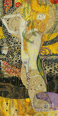 Replica Painting - My Acrylic Painting As An Interpretation Of The Famous Artwork Of Gustav Klimt - Water Serpents I by Elena Yakubovich