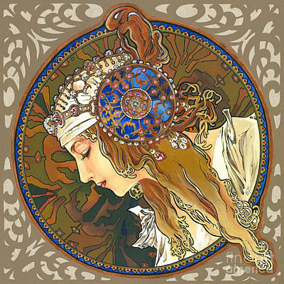 Painting - My Acrylic Painting As Interpretation Of Alphonse Mucha- Byzantine Head. The Blonde. Diagonal Frame. by Elena Yakubovich