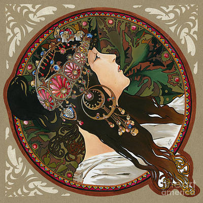 Replica Painting - My Acrylic Painting As Interpretation Of Alphonse Mucha - Byzantine Head The Brunette Diagonal Frame by Elena Yakubovich