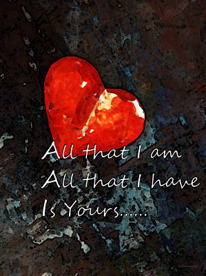 Hearts Digital Art - My All - Love Romantic Art Valentine's Day by Sharon Cummings