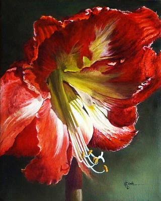Painting - My Amaryllis In Morning Sun #3 by Mary Dove