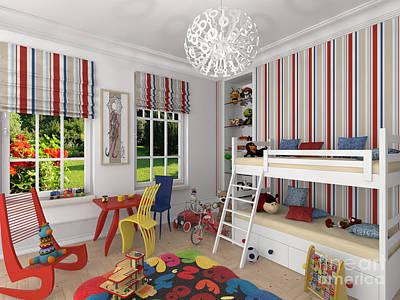 My Art In The Interior Decoration -venetian Jester In The Children's Room-  Elena Yakubovich Art Print